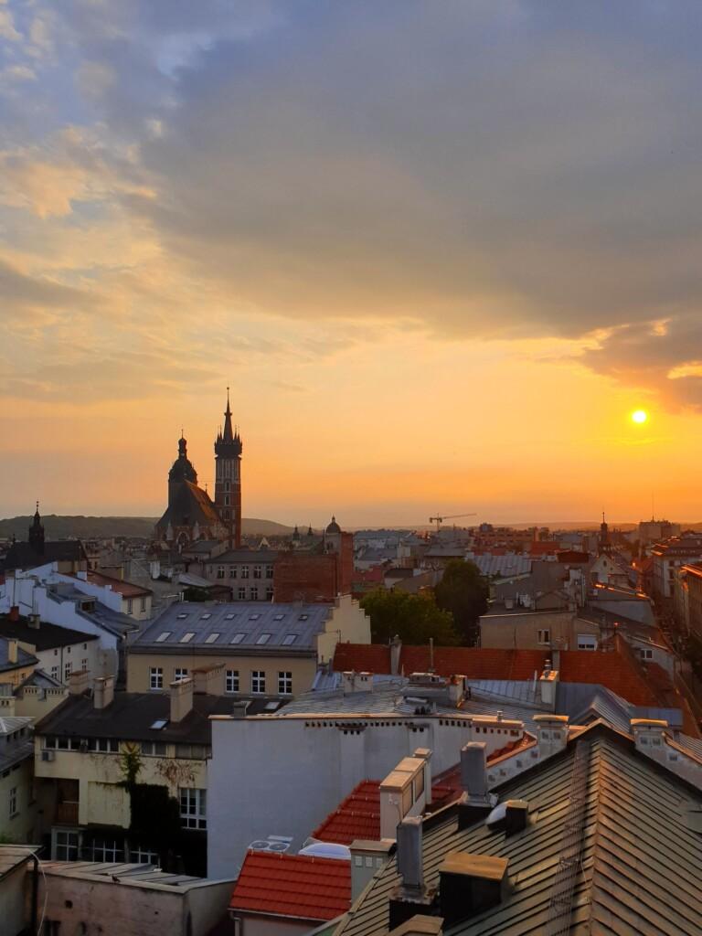 Kraków o zachodzie słońca