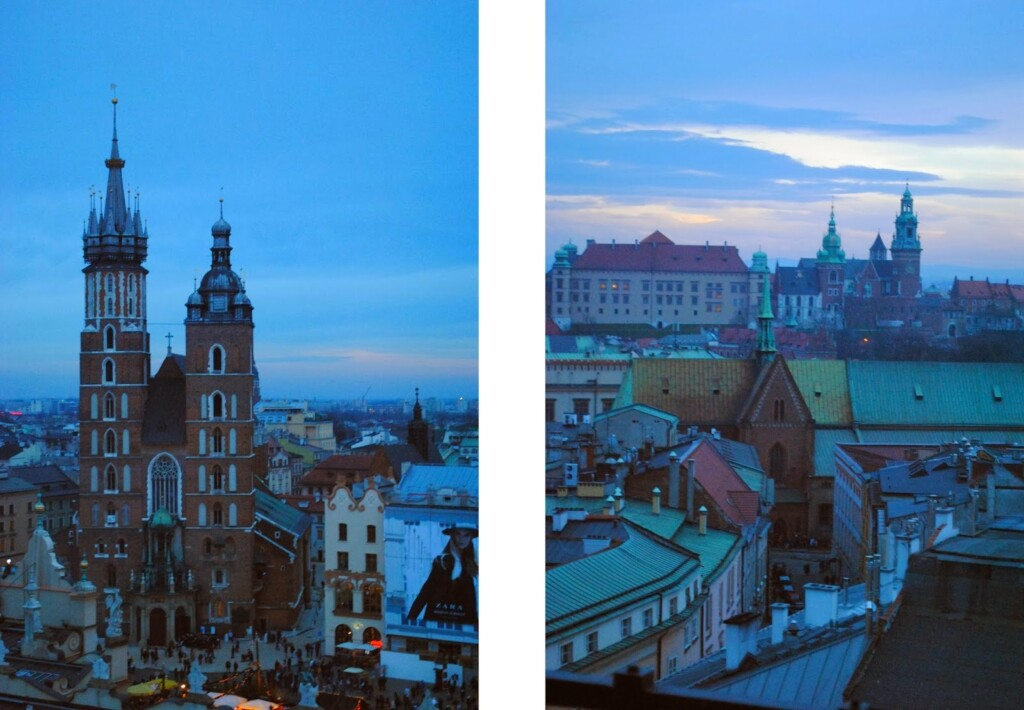 Widok z wieży ratuszowej w Krakowie