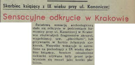 Dziennik Polski o skarbie Wiślan
