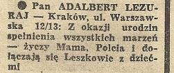 Zagadkowe życzenia dla Adalberta Lezuraja