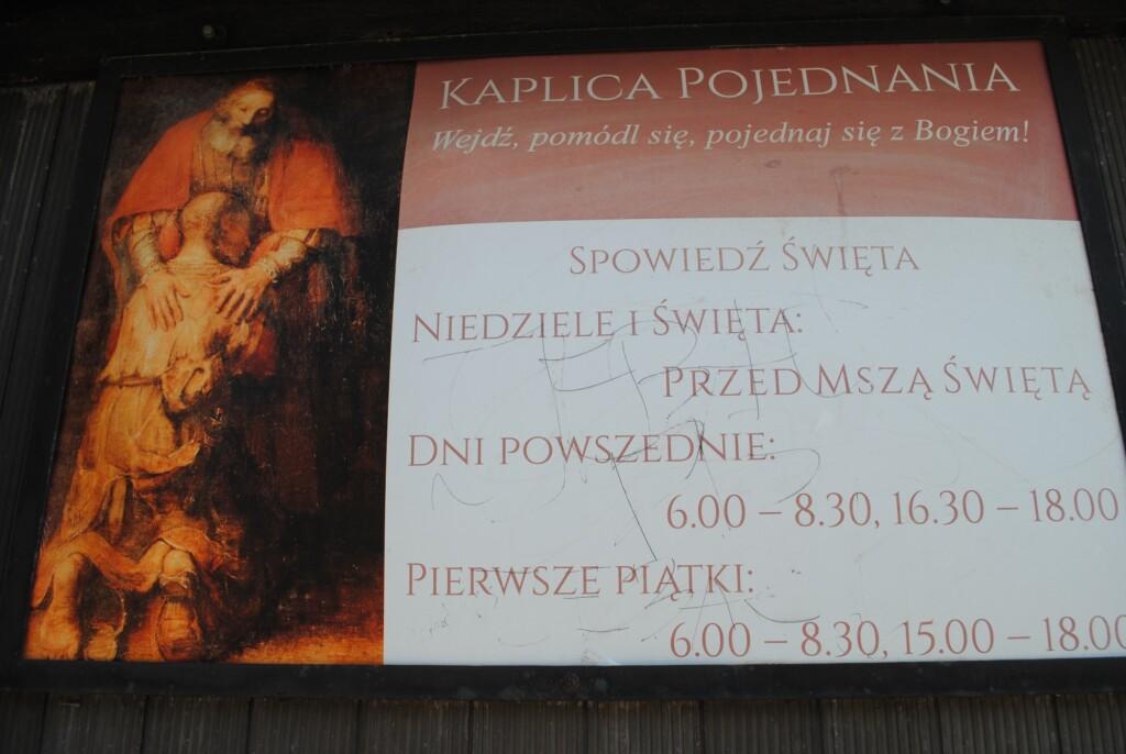 Godziny otwarcia Kaplicy Pojednania